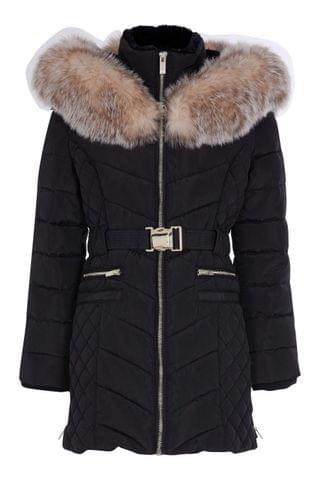 KIDS River Island Black Matte Belted Padded Jacket