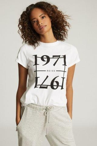 WOMEN Reiss White Ashley 1971 Graphic T-Shirt