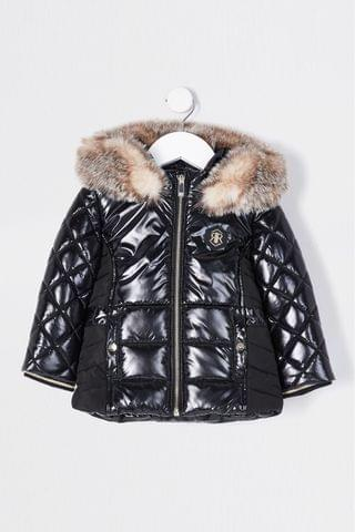 KIDS River Island Black High Shine Harvey Padded Jacket