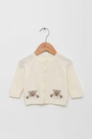 KIDS Trotters London Off White Teddy Cardigan