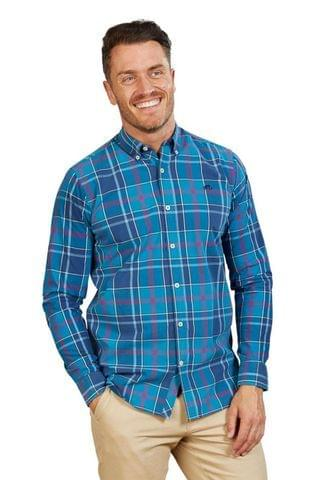 MEN Raging Bull Blue Long Sleeve Large Check Poplin Shirt