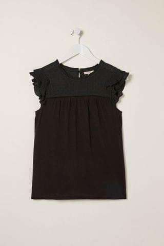 WOMEN FatFace Black Louise Woven Top