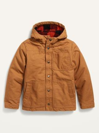 KIDS Hooded Canvas Flannel-Lined Workwear Shirt Jacket for Boys