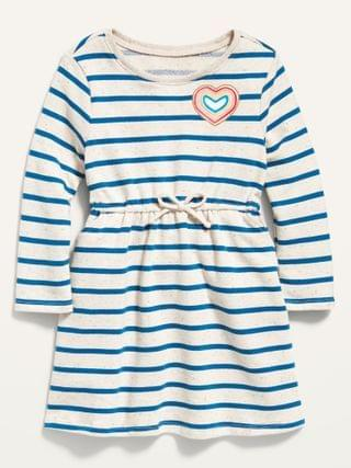 KIDS Fit & Flare Striped French Terry Dress for Toddler Girls