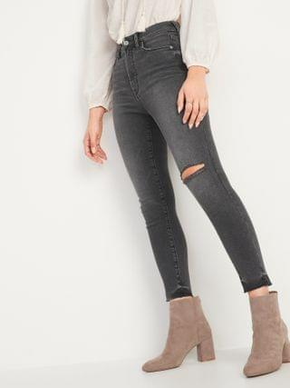 WOMEN Extra High-Waisted Rockstar Super Skinny Ripped Gray Cut-Off Ankle Jeans for Women