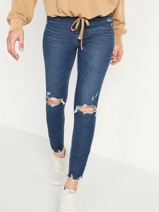 WOMEN Extra High-Waisted Rockstar 360 Stretch Super Skinny Ripped Ankle Jeans for Women