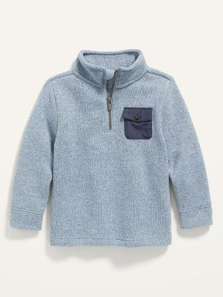 KIDS 1/4-Zip Marled Sweater-Knit Pullover for Toddler Boys