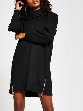 WOMEN Black long sleeve roll neck zip jumper dress