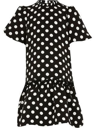KIDS black polka dot smock dress