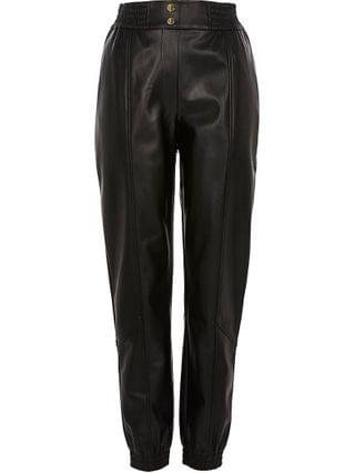 WOMEN Petite black faux leather slim leg joggers