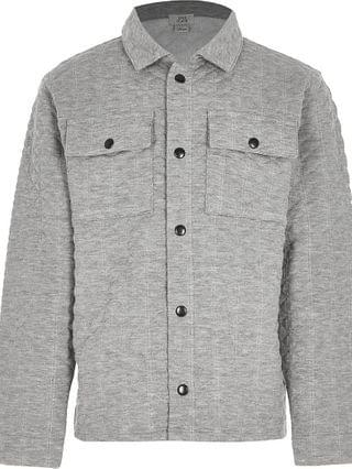 KIDS grey embossed overshirt
