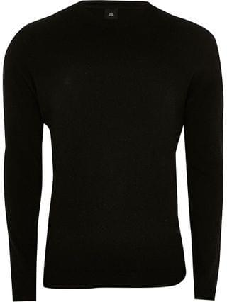 MEN Black long sleeve cashmere blend jumper