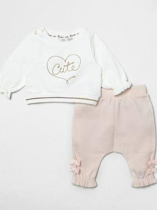 KIDS pink 'Cute' bow sweatshirt outfit
