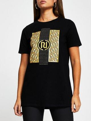 WOMEN Black RI monogram short sleeve t-shirt
