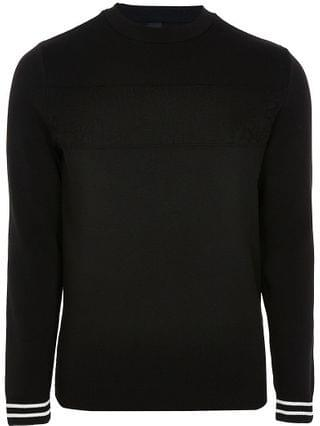 MEN Black RI monogram panel jumper