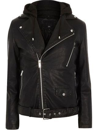 MEN Black hooded faux leather biker jacket