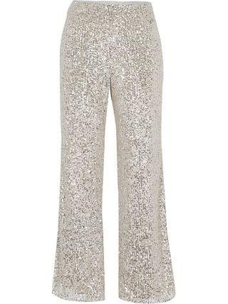 WOMEN Petite silver slim sequin trousers