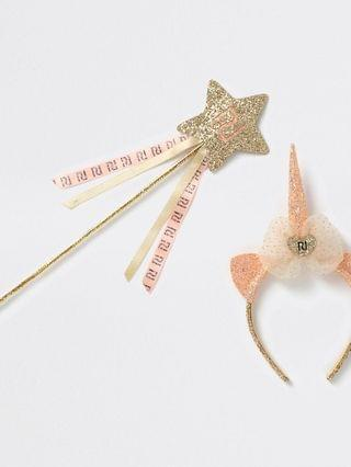 KIDS gold tone unicorn wand and crown set