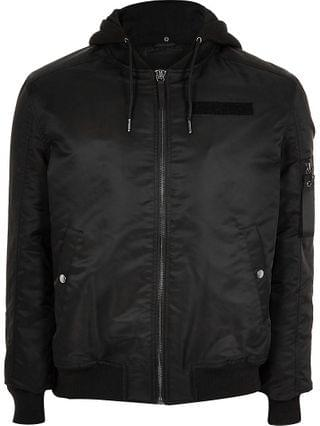 MEN Big and Tall black hooded bomber jacket
