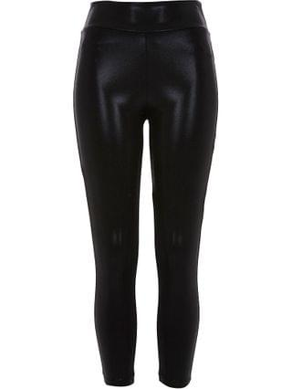 WOMEN Petite black coated leggings