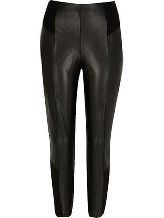 WOMEN Petite black faux leather ponte leggings
