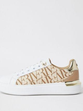 WOMEN Brown wide fit 'River' chunky lace up trainer