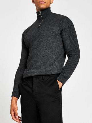 MEN Grey long sleeve half zip funnel neck jumper