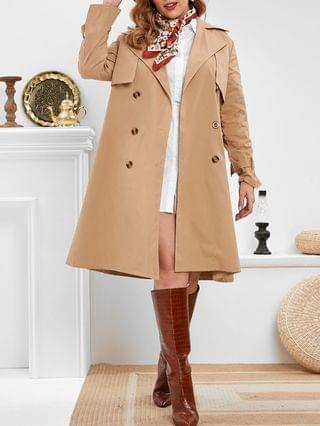 WOMEN Plus Size Double Breasted Long Trench Coat
