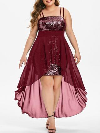 WOMEN Plus Size High Low Sequin Maxi Cocktail Dress