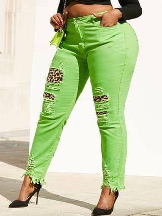 WOMEN Neon Colored Distressed Leopard Panel Plus Size Skinny Jeans