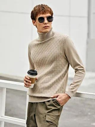 MEN High Neck Solid Sweater