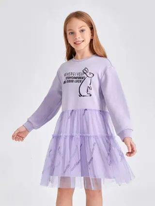 KIDS Slogan & Cartoon Graphic Mesh Hem Sweatshirt Dress