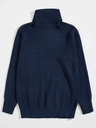 MEN Rolled Neck Solid Sweater