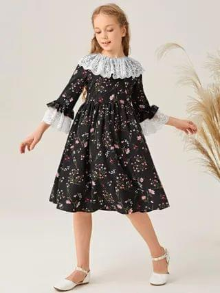 KIDS Contrast Embroidered Mesh Ruffle Trim Ditsy Floral Dress