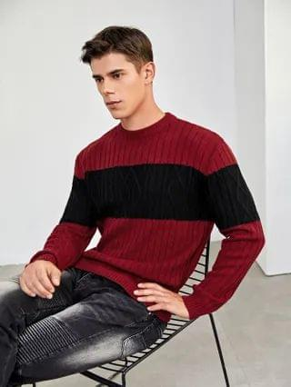 MEN Colorblock Cable Knit Sweater
