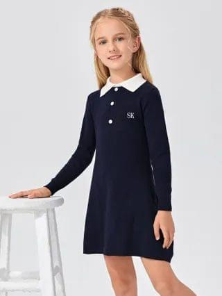 KIDS Letter Embroidery Button Front Sweater Dress