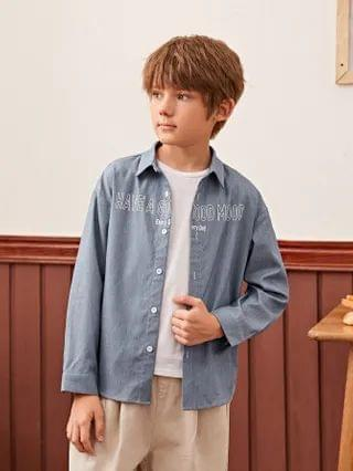 KIDS Collared Buttoned Front Slogan Graphic Shirt
