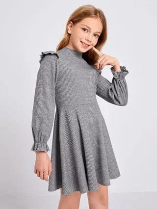 KIDS Mock-Neck Ruffle Trim Rib-knit Dress
