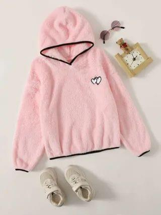 KIDS Heart Embroidered Contrast Binding Teddy Hoodie