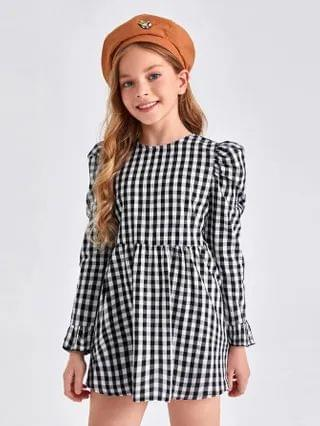 KIDS Puff Sleeve Buffalo Plaid Dress