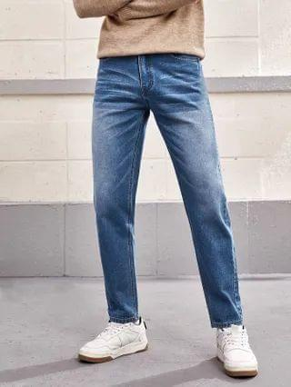 MEN Straight Leg Washed Jeans