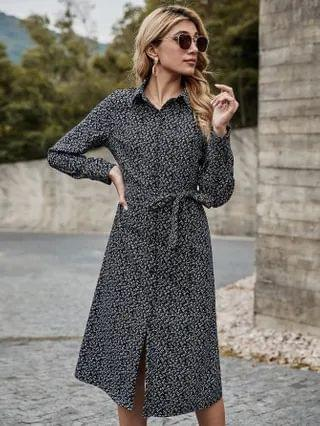 WOMEN Button Front Belted Ditsy Floral Print Dress