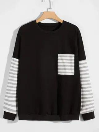 MEN Contrast Striped Pocket Front Sweatshirt