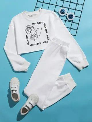 KIDS Letter & Figure Graphic Pullover And Joggers Set