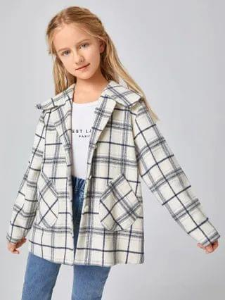 KIDS Collared Pocket Front Plaid Coat