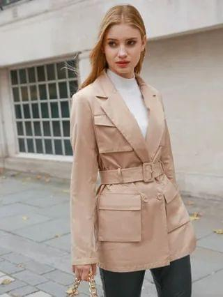 WOMEN Notched Collar Flap Pocket Front Buckle Belted Coat