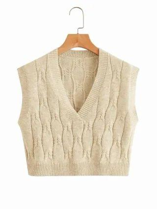 WOMEN Solid Cable Knit Sweater Vest