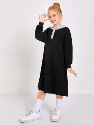 KIDS Contrast Hooded Button Half Placket Sweatshirt Dress