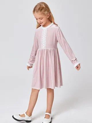 KIDS Lace Detail Velvet Dress