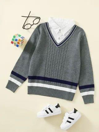 KIDS Striped Contrast Collar 2 In 1 Sweater